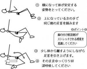 腸腰筋・四頭筋ストレッチ(横